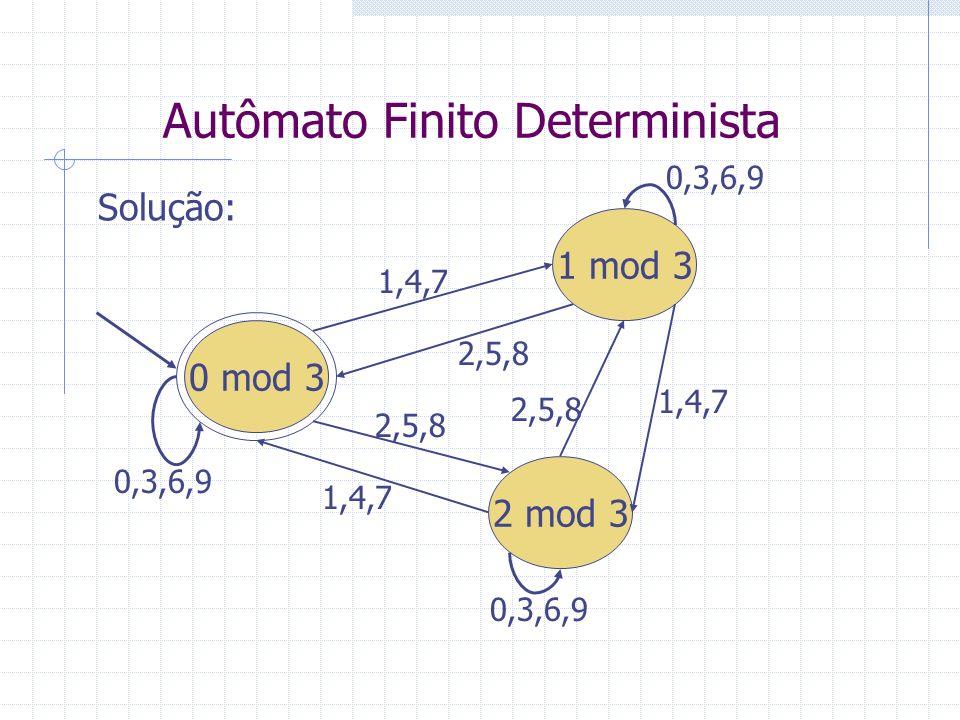 Autômato Finito Determinista Solução: 0 mod 3 1 mod 3 2 mod 3 0,3,6,9 1,4,7 2,5,8