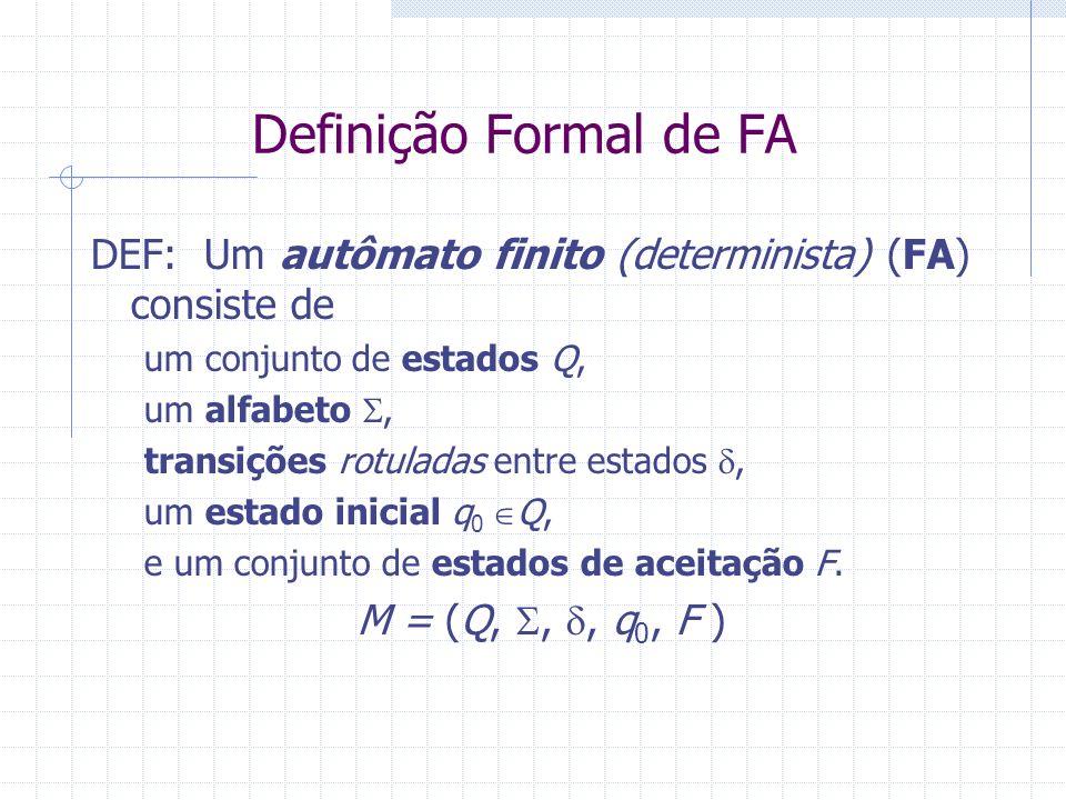Definição Formal de FA DEF: Um autômato finito (determinista) (FA) consiste de um conjunto de estados Q, um alfabeto, transições rotuladas entre estad