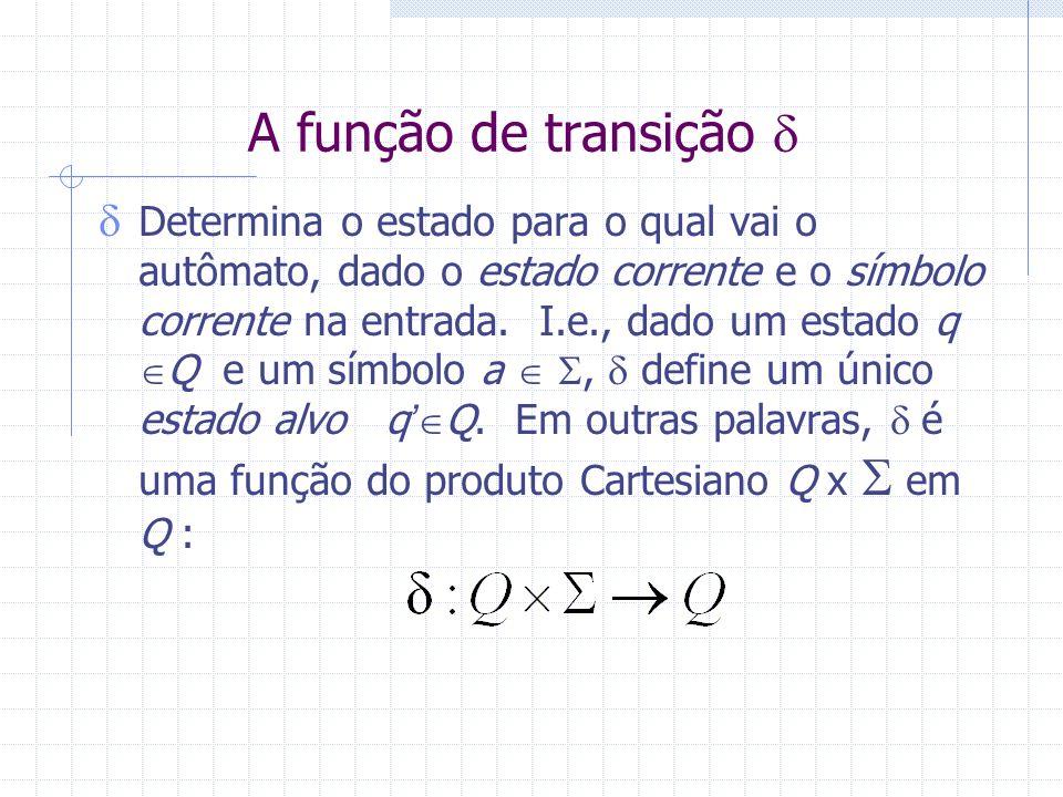A função de transição Determina o estado para o qual vai o autômato, dado o estado corrente e o símbolo corrente na entrada. I.e., dado um estado q Q