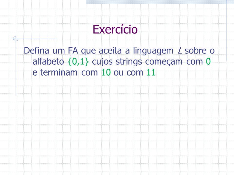 Exercício Defina um FA que aceita a linguagem L sobre o alfabeto {0,1} cujos strings começam com 0 e terminam com 10 ou com 11