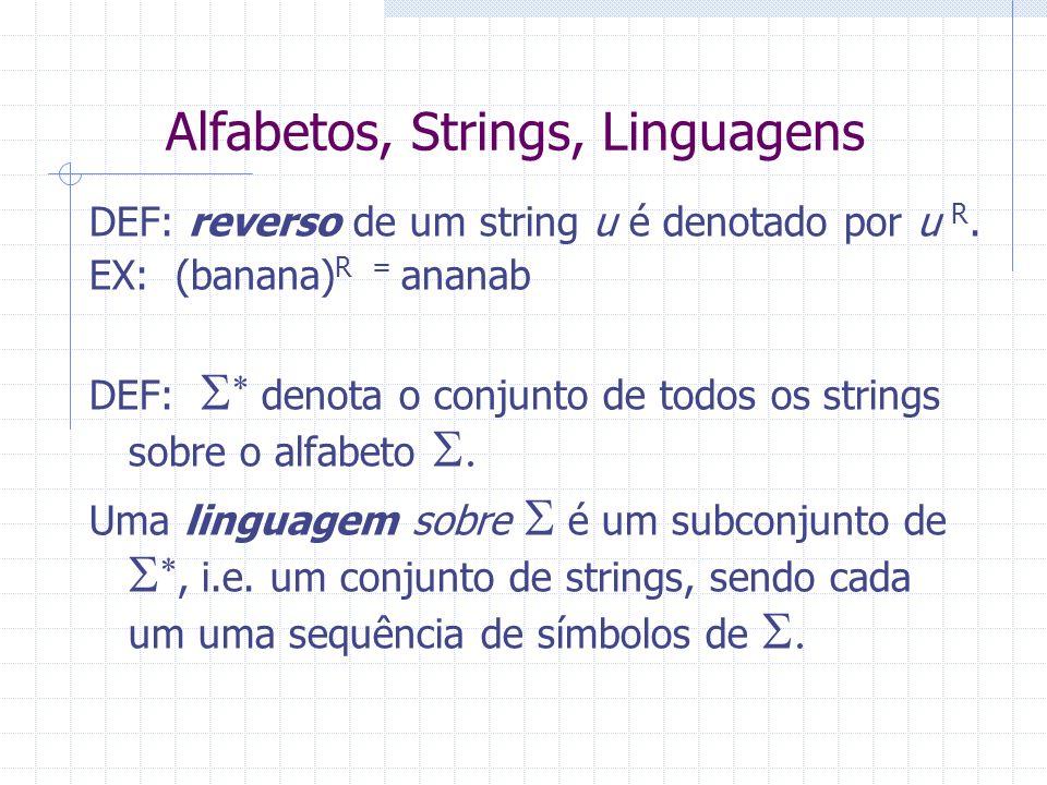 Alfabetos, Strings, Linguagens DEF: reverso de um string u é denotado por u R. EX: (banana) R = ananab DEF: denota o conjunto de todos os strings sobr