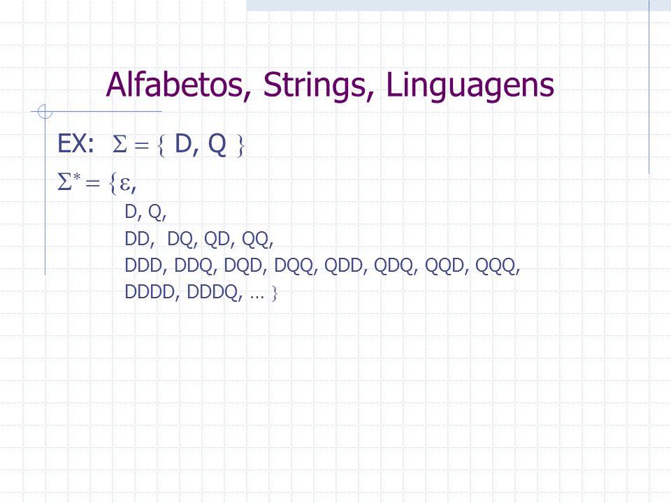 Alfabetos, Strings, Linguagens EX: D, Q, D, Q, DD, DQ, QD, QQ, DDD, DDQ, DQD, DQQ, QDD, QDQ, QQD, QQQ, DDDD, DDDQ, …