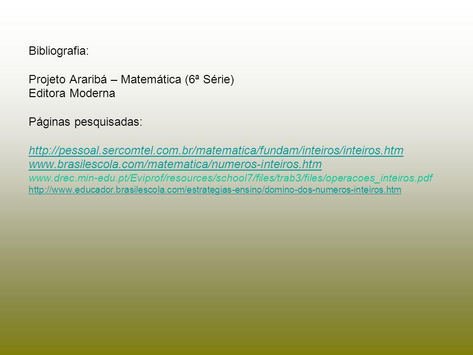 Bibliografia: Projeto Araribá – Matemática (6ª Série) Editora Moderna Páginas pesquisadas: http://pessoal.sercomtel.com.br/matematica/fundam/inteiros/