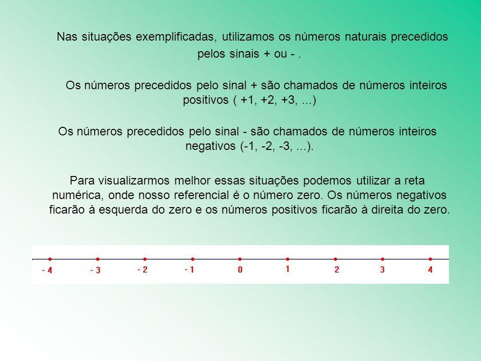 Nas situações exemplificadas, utilizamos os números naturais precedidos pelos sinais + ou -. Os números precedidos pelo sinal + são chamados de número