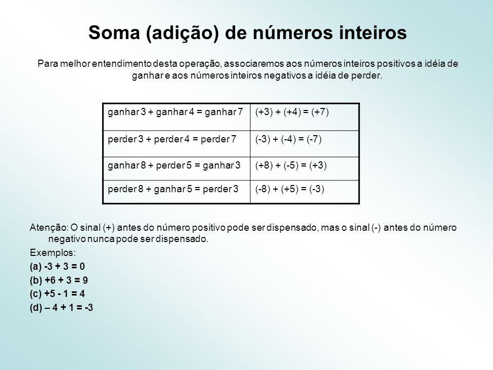 Soma (adição) de números inteiros Para melhor entendimento desta operação, associaremos aos números inteiros positivos a idéia de ganhar e aos números