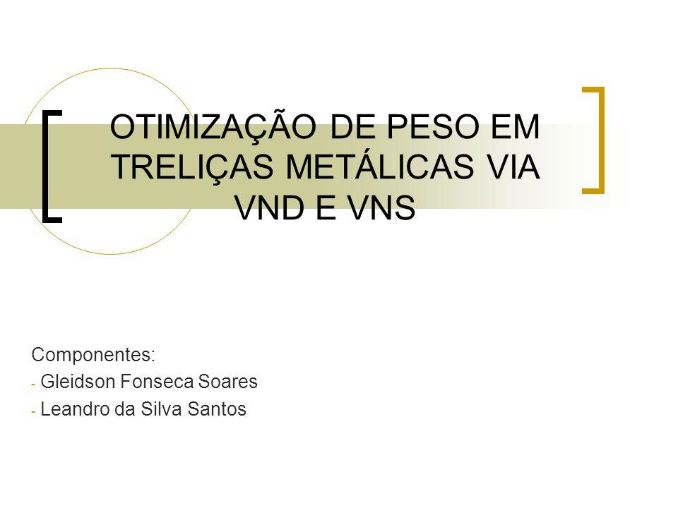 OTIMIZAÇÃO DE PESO EM TRELIÇAS METÁLICAS VIA VND E VNS Componentes: - Gleidson Fonseca Soares - Leandro da Silva Santos