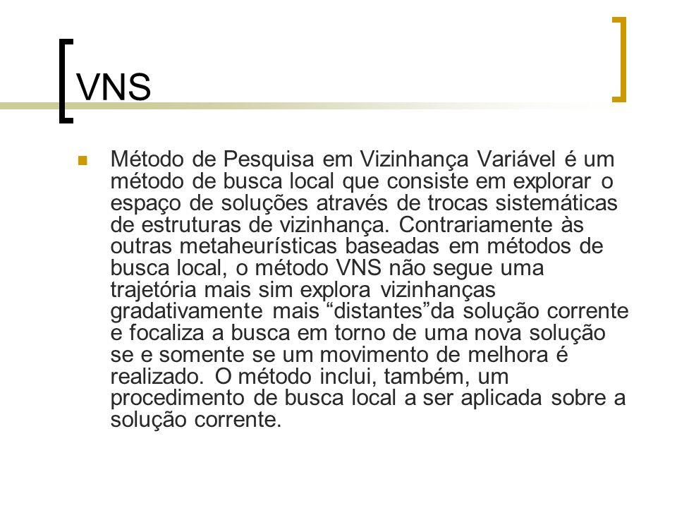 VNS Método de Pesquisa em Vizinhança Variável é um método de busca local que consiste em explorar o espaço de soluções através de trocas sistemáticas