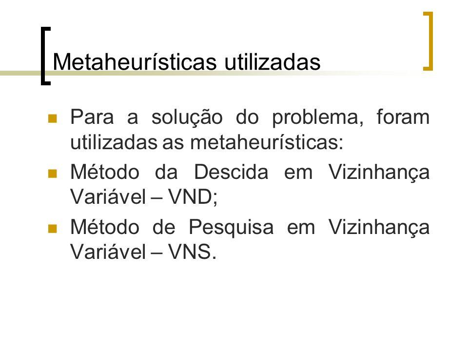 Metaheurísticas utilizadas Para a solução do problema, foram utilizadas as metaheurísticas: Método da Descida em Vizinhança Variável – VND; Método de