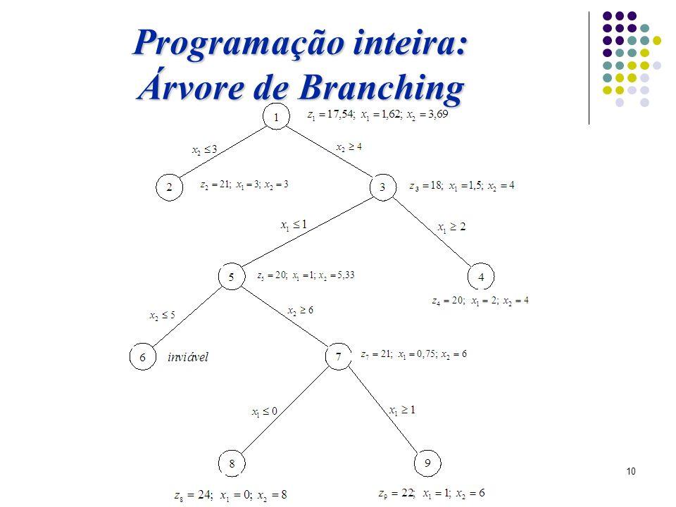 10 Programação inteira: Árvore de Branching