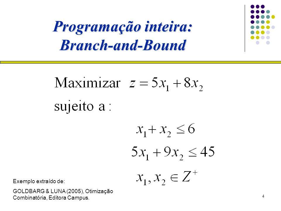 4 Programação inteira: Branch-and-Bound Exemplo extraído de: GOLDBARG & LUNA (2005), Otimização Combinatória, Editora Campus.