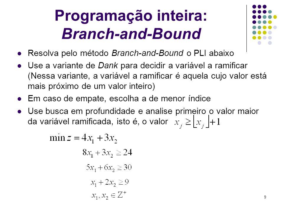 9 Programação inteira: Branch-and-Bound Resolva pelo método Branch-and-Bound o PLI abaixo Use a variante de Dank para decidir a variável a ramificar (
