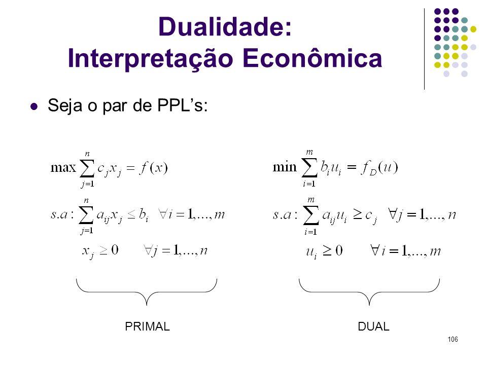 106 Dualidade: Interpretação Econômica Seja o par de PPLs: PRIMALDUAL