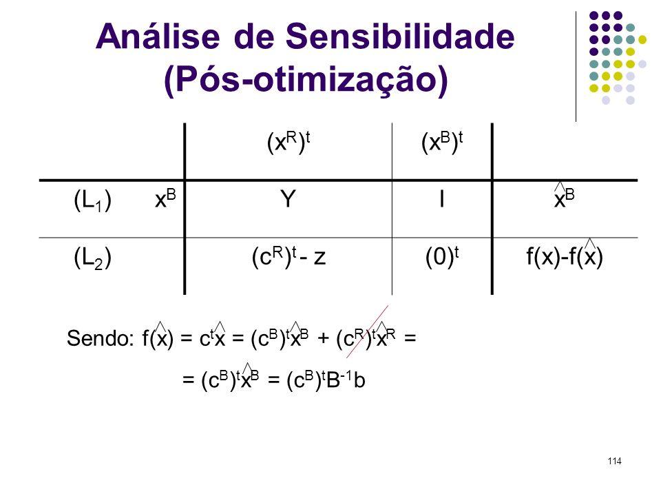 114 Análise de Sensibilidade (Pós-otimização) (x R ) t (x B ) t (L 1 )xBxB YIxBxB (L 2 )(c R ) t - z(0) t f(x)-f(x) Sendo: f(x) = c t x = (c B ) t x B