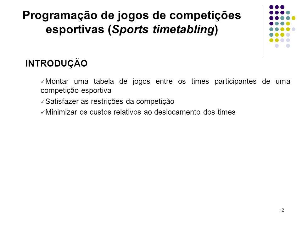 12 INTRODUÇÃO Montar uma tabela de jogos entre os times participantes de uma competição esportiva Satisfazer as restrições da competição Minimizar os
