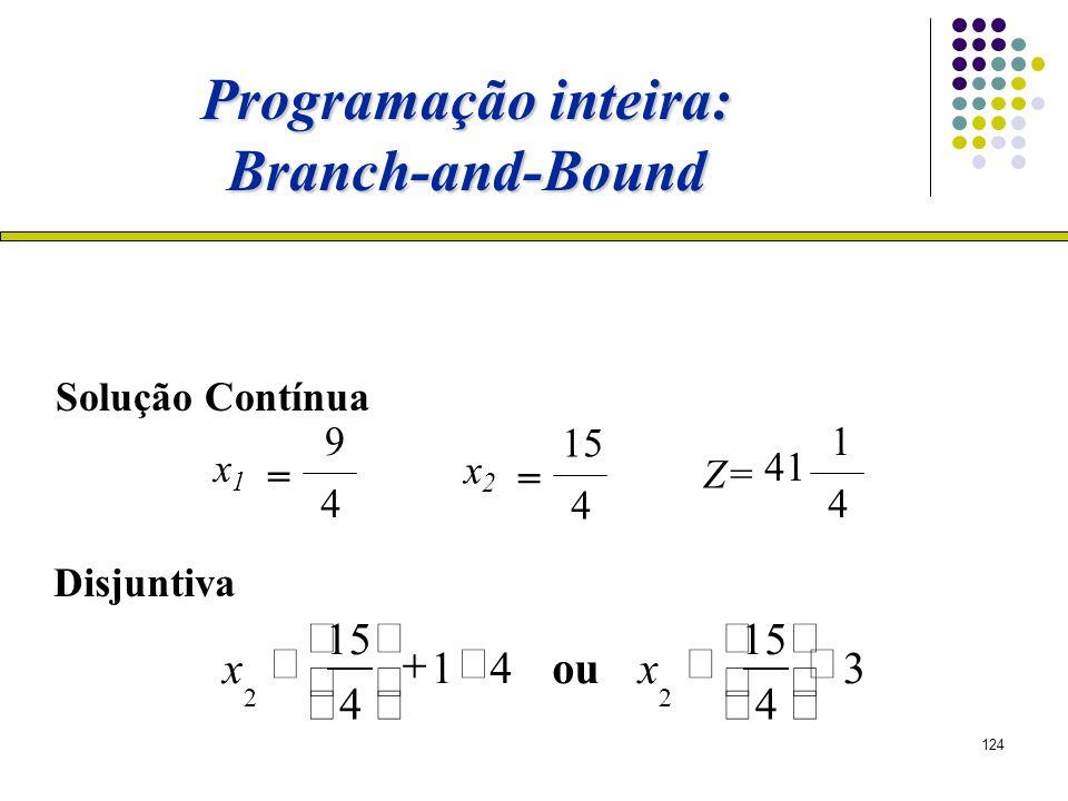 124 3 4 15 2 x ou 41 4 15 2 x x1x1 = 9 4 x2x2 = 15 4 Z= 1 4 41 Disjuntiva Solução Contínua Programação inteira: Branch-and-Bound