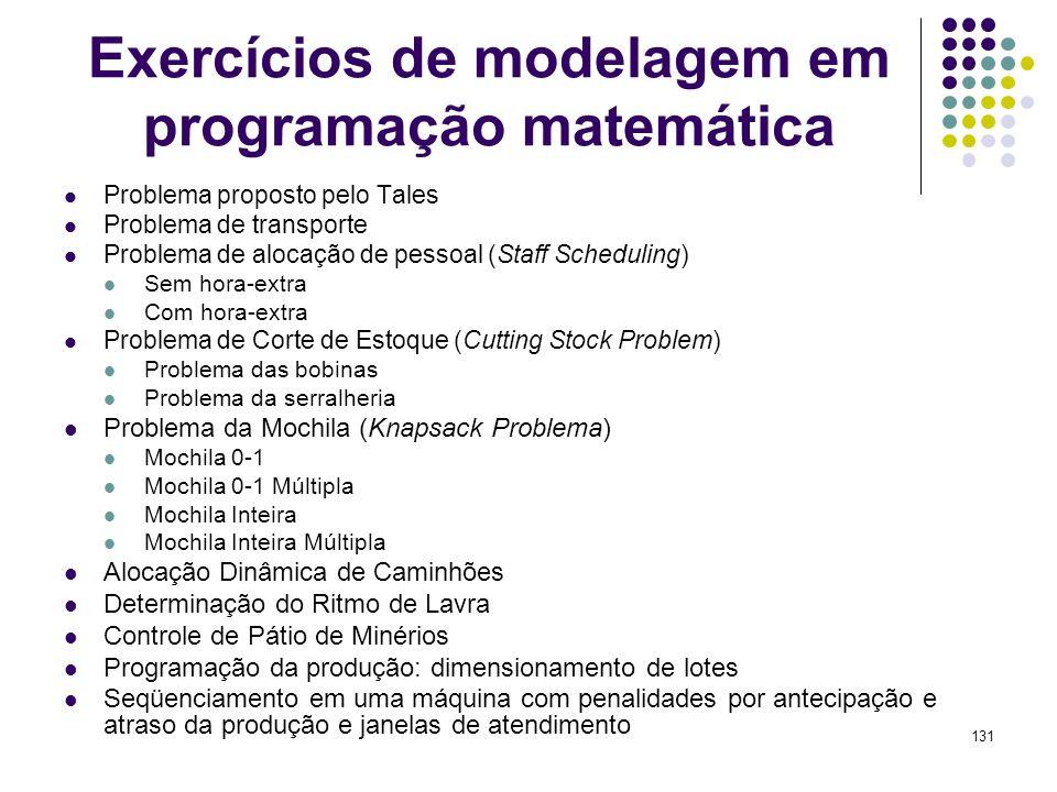 131 Exercícios de modelagem em programação matemática Problema proposto pelo Tales Problema de transporte Problema de alocação de pessoal (Staff Sched