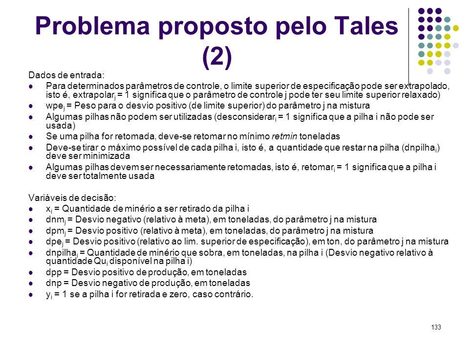 133 Problema proposto pelo Tales (2) Dados de entrada: Para determinados parâmetros de controle, o limite superior de especificação pode ser extrapola