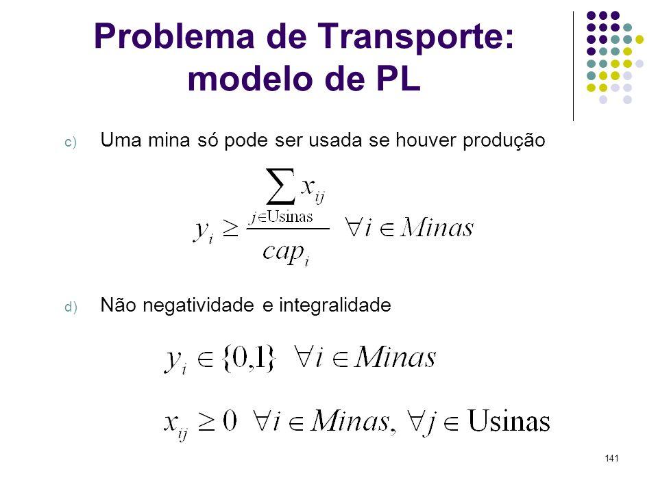 141 Problema de Transporte: modelo de PL c) Uma mina só pode ser usada se houver produção d) Não negatividade e integralidade
