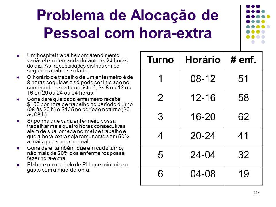147 Problema de Alocação de Pessoal com hora-extra Um hospital trabalha com atendimento variável em demanda durante as 24 horas do dia. As necessidade