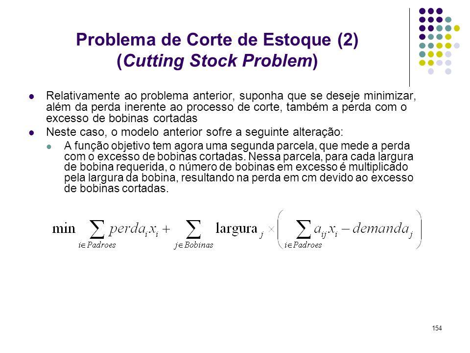 154 Problema de Corte de Estoque (2) (Cutting Stock Problem) Relativamente ao problema anterior, suponha que se deseje minimizar, além da perda ineren