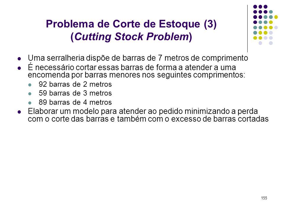 155 Problema de Corte de Estoque (3) (Cutting Stock Problem) Uma serralheria dispõe de barras de 7 metros de comprimento É necessário cortar essas bar