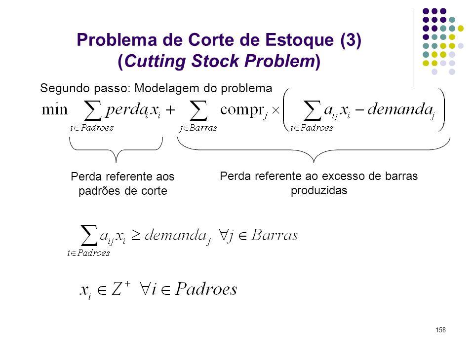 158 Problema de Corte de Estoque (3) (Cutting Stock Problem) Perda referente aos padrões de corte Perda referente ao excesso de barras produzidas Segu