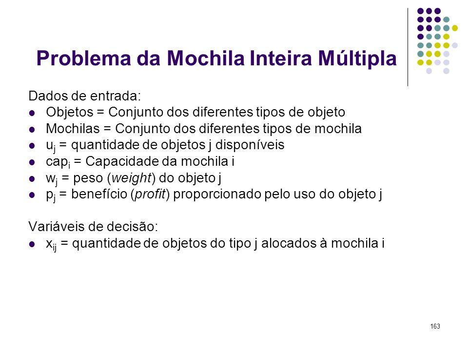 163 Problema da Mochila Inteira Múltipla Dados de entrada: Objetos = Conjunto dos diferentes tipos de objeto Mochilas = Conjunto dos diferentes tipos