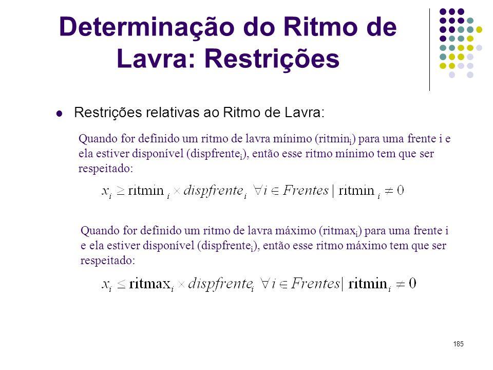 185 Quando for definido um ritmo de lavra mínimo (ritmin i ) para uma frente i e ela estiver disponível (dispfrente i ), então esse ritmo mínimo tem q
