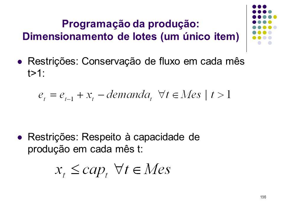 198 Programação da produção: Dimensionamento de lotes (um único item) Restrições: Conservação de fluxo em cada mês t>1: Restrições: Respeito à capacid