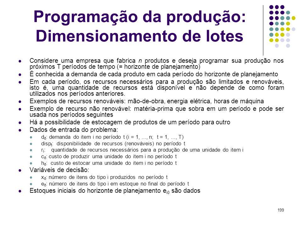 199 Programação da produção: Dimensionamento de lotes Considere uma empresa que fabrica n produtos e deseja programar sua produção nos próximos T perí