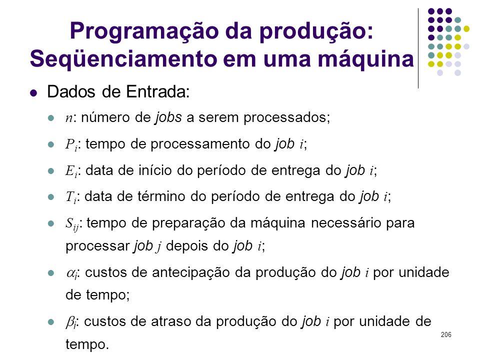 206 Programação da produção: Seqüenciamento em uma máquina Dados de Entrada: n : número de jobs a serem processados; P i : tempo de processamento do j