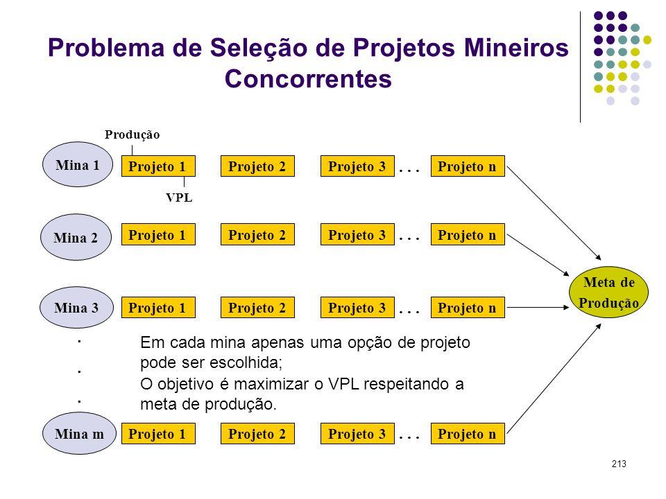 213 Mina 2 Mina 3 Mina 1 Problema de Seleção de Projetos Mineiros Concorrentes Mina m...... Projeto 1Projeto 2Projeto 3Projeto n... Projeto 1Projeto 2
