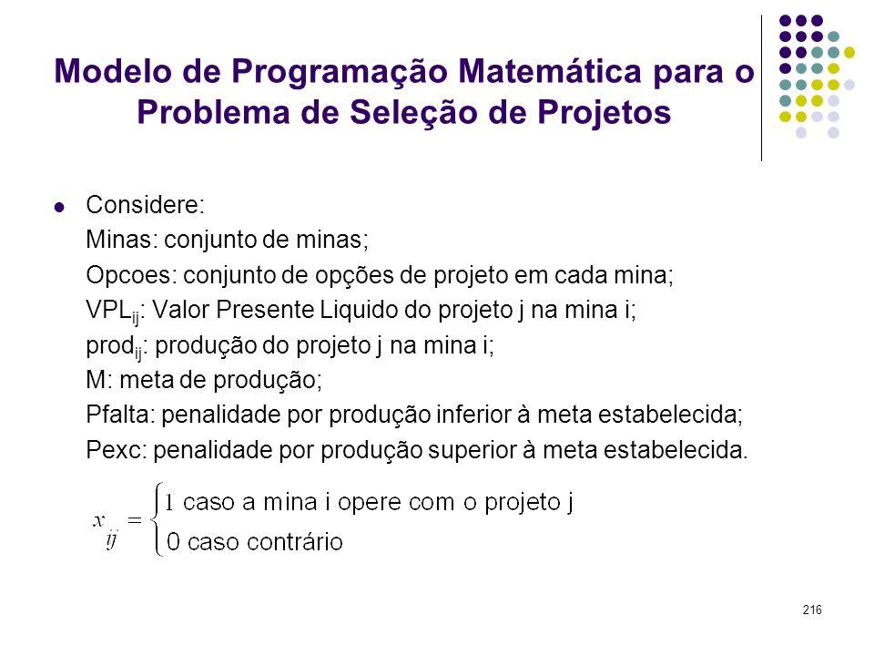 216 Modelo de Programação Matemática para o Problema de Seleção de Projetos Considere: Minas: conjunto de minas; Opcoes: conjunto de opções de projeto