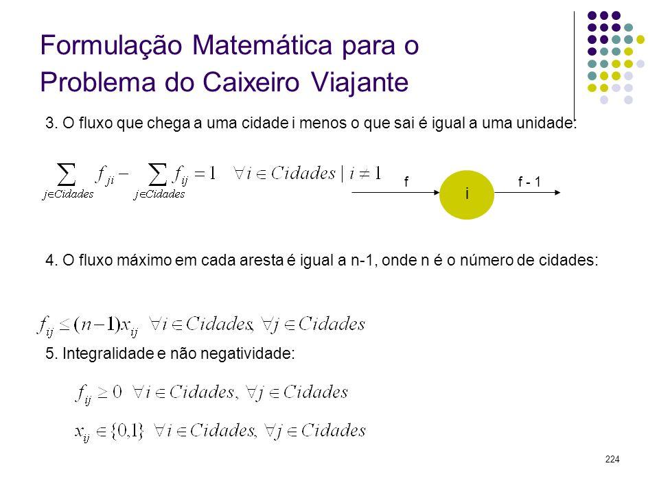 224 Formulação Matemática para o Problema do Caixeiro Viajante 3. O fluxo que chega a uma cidade i menos o que sai é igual a uma unidade: 4. O fluxo m