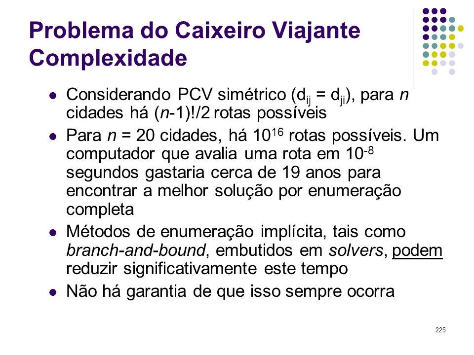 225 Problema do Caixeiro Viajante Complexidade Considerando PCV simétrico (d ij = d ji ), para n cidades há (n-1)!/2 rotas possíveis Para n = 20 cidad