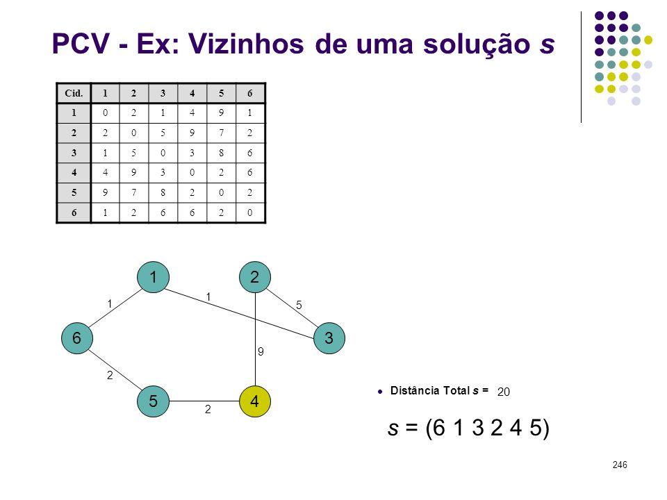 246 PCV - Ex: Vizinhos de uma solução s 1 4 3 2 5 6 Cid.123456 1021491 2205972 3150386 4493026 5978202 6126620 Distância Total s = 20 2 1 5 1 9 2 s =