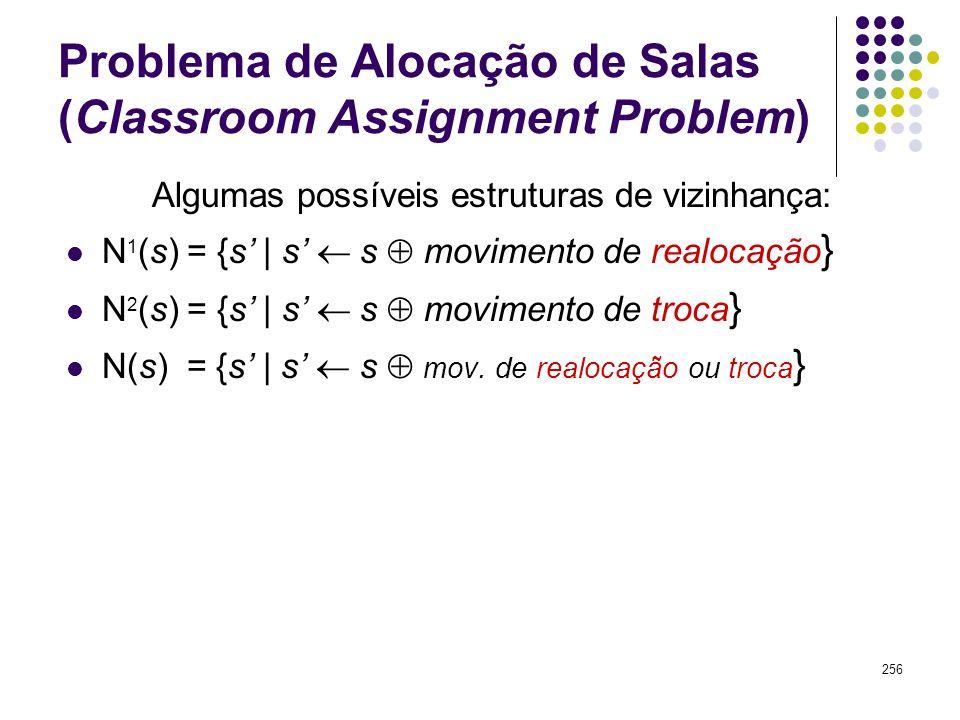 256 Problema de Alocação de Salas (Classroom Assignment Problem) Algumas possíveis estruturas de vizinhança: N 1 (s) = {s | s s movimento de realocaçã
