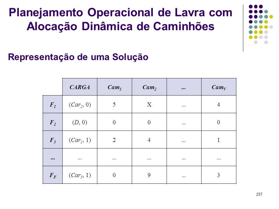 257 CARGACam 1 Cam 2...Cam V F1F1 (Car 2, 0)5X...4 F2F2 (D, 0)00...0 F3F3 (Car 1, 1)24...1 F (Car 5, 1)09...3 Representação de uma Solução Planejament