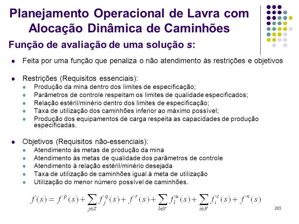 265 Função de avaliação de uma solução s: Planejamento Operacional de Lavra com Alocação Dinâmica de Caminhões Feita por uma função que penaliza o não