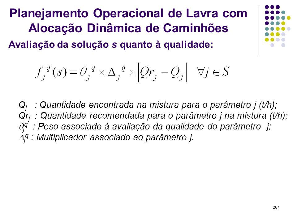 267 Avaliação da solução s quanto à qualidade: Planejamento Operacional de Lavra com Alocação Dinâmica de Caminhões Q j : Quantidade encontrada na mis