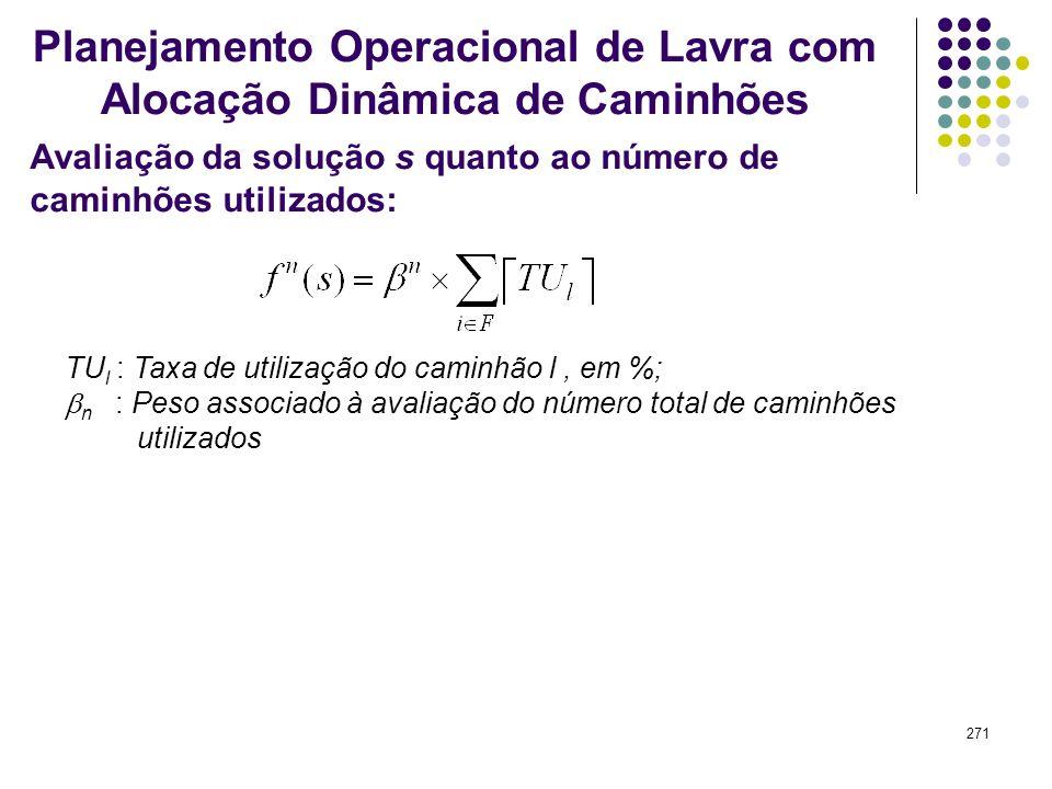 271 Avaliação da solução s quanto ao número de caminhões utilizados: Planejamento Operacional de Lavra com Alocação Dinâmica de Caminhões TU l : Taxa