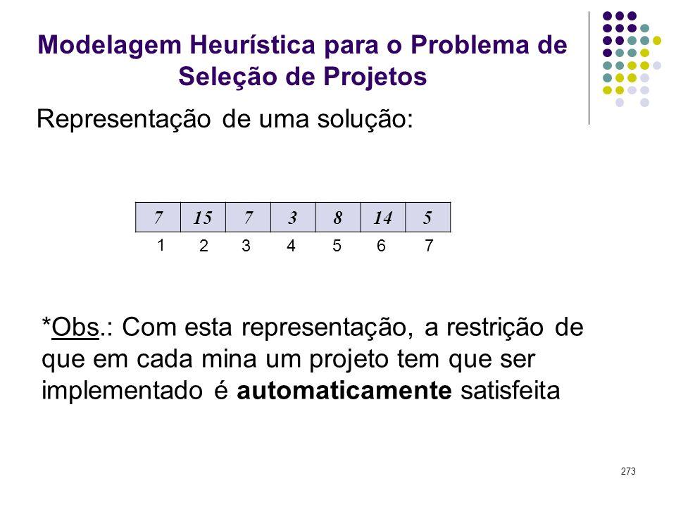 273 Modelagem Heurística para o Problema de Seleção de Projetos 715738145 1 2354 Representação de uma solução: 67 *Obs.: Com esta representação, a res