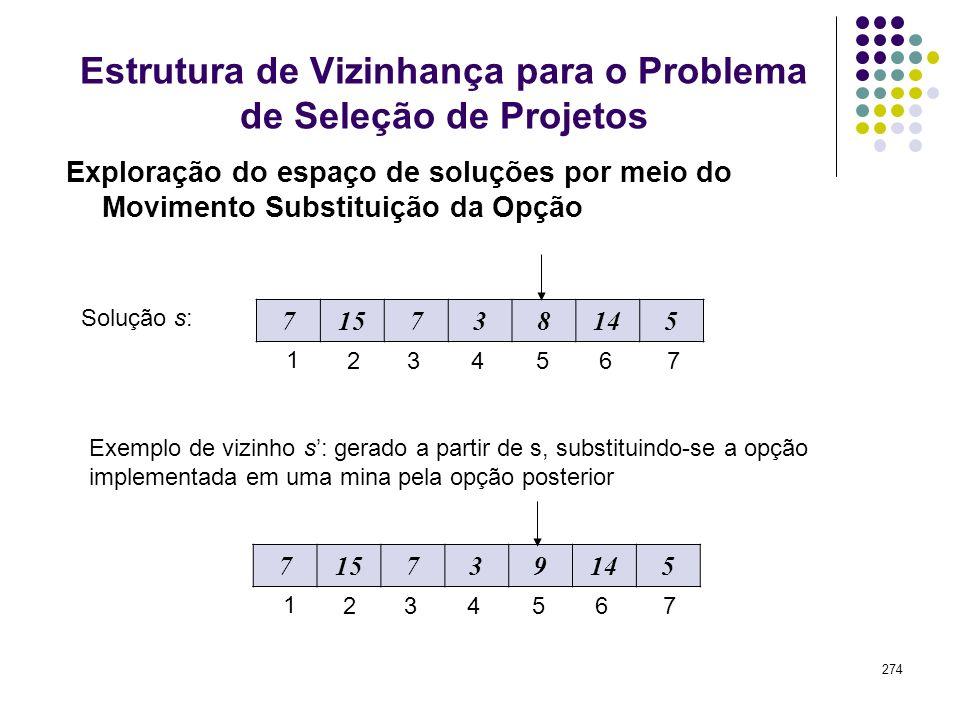 274 Exploração do espaço de soluções por meio do Movimento Substituição da Opção Estrutura de Vizinhança para o Problema de Seleção de Projetos Soluçã