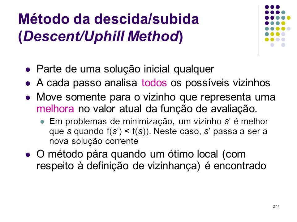 277 Método da descida/subida (Descent/Uphill Method) Parte de uma solução inicial qualquer A cada passo analisa todos os possíveis vizinhos Move somen