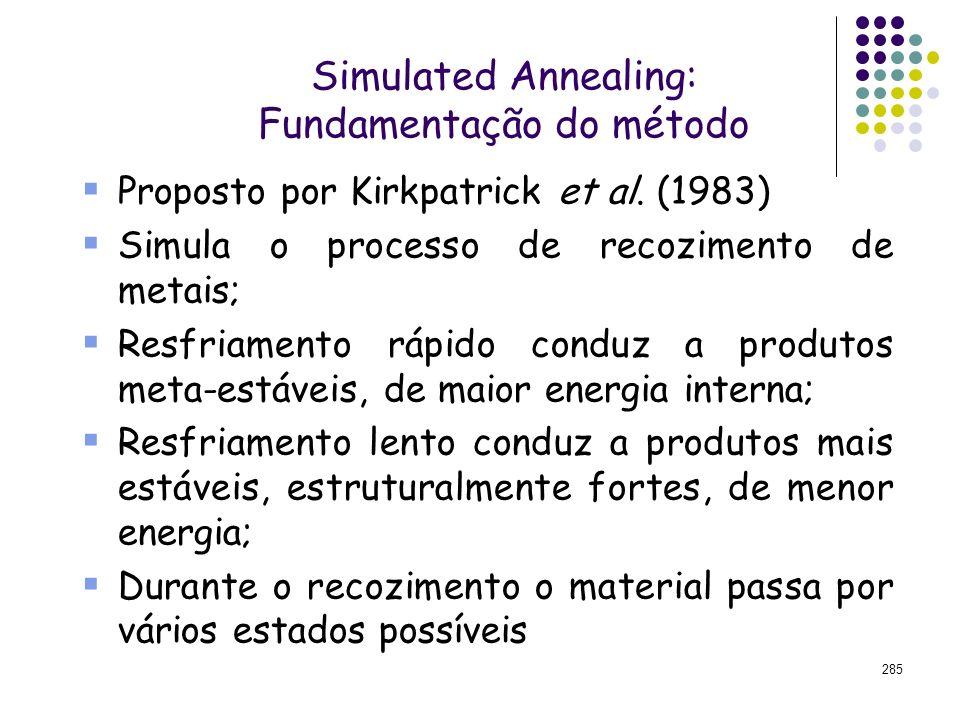 285 Simulated Annealing: Fundamentação do método Proposto por Kirkpatrick et al. (1983) Simula o processo de recozimento de metais; Resfriamento rápid