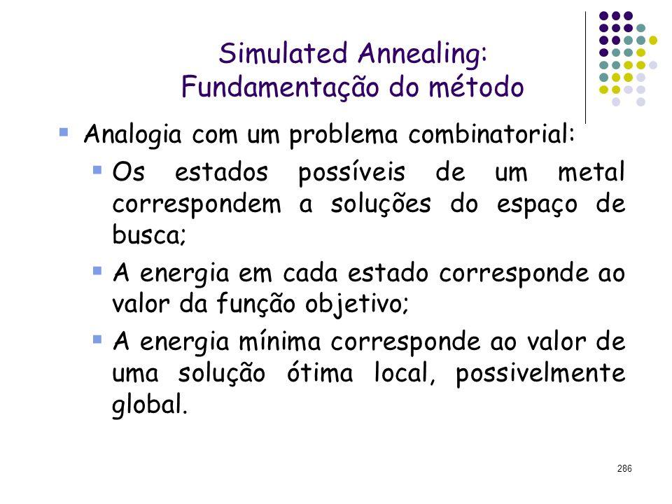286 Simulated Annealing: Fundamentação do método Analogia com um problema combinatorial: Os estados possíveis de um metal correspondem a soluções do e