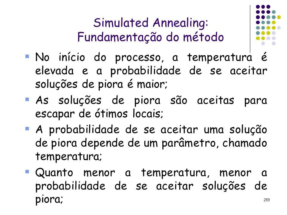 289 Simulated Annealing: Fundamentação do método No início do processo, a temperatura é elevada e a probabilidade de se aceitar soluções de piora é ma