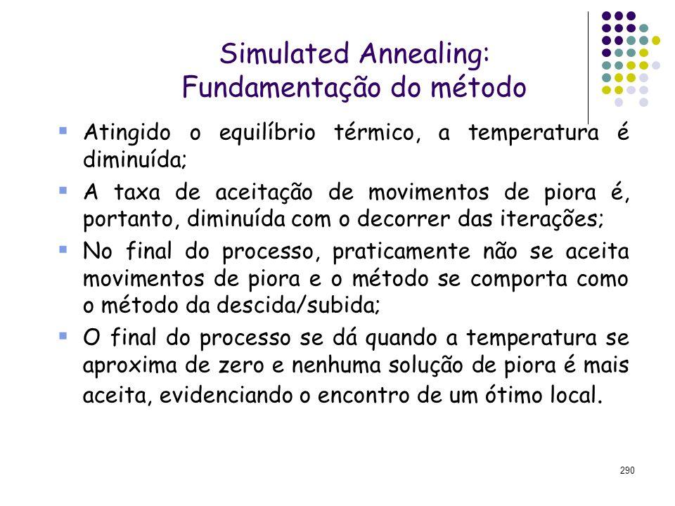 290 Simulated Annealing: Fundamentação do método Atingido o equilíbrio térmico, a temperatura é diminuída; A taxa de aceitação de movimentos de piora