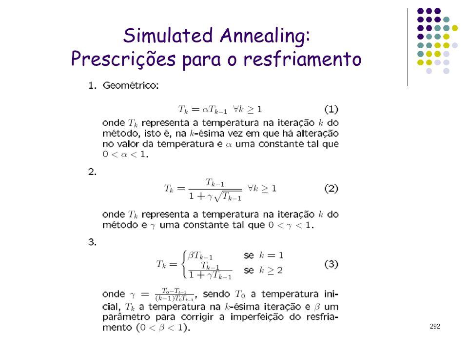 292 Simulated Annealing: Prescrições para o resfriamento