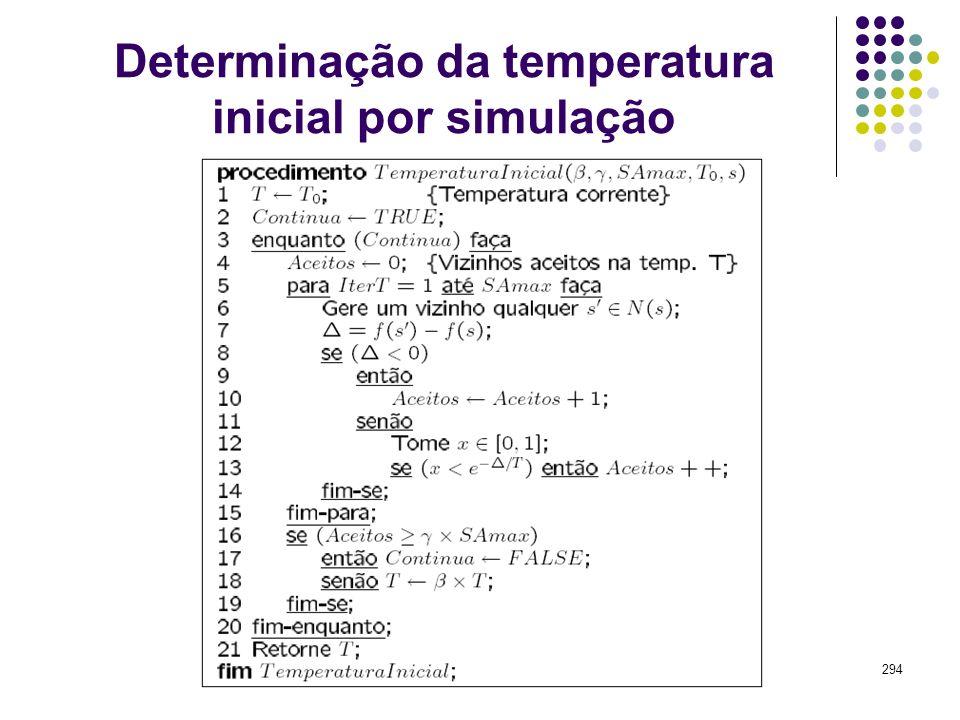 294 Determinação da temperatura inicial por simulação